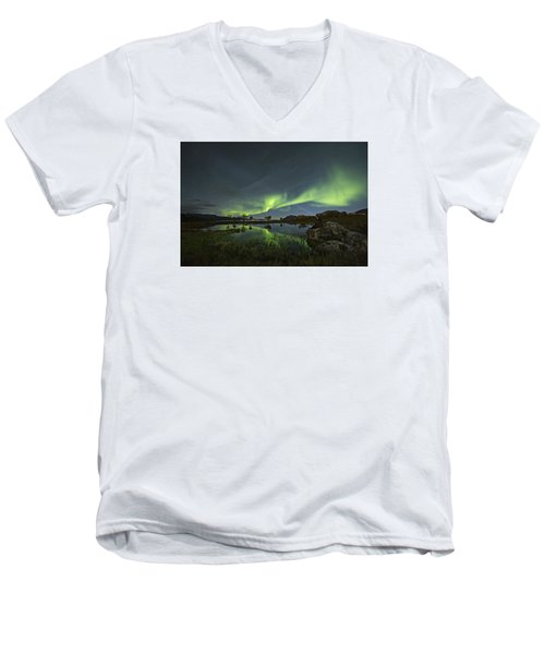 The Man Under The Aurora Sky Men's V-Neck T-Shirt