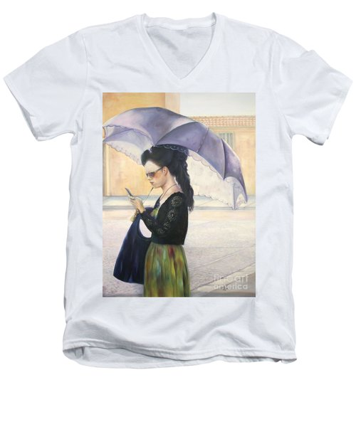Men's V-Neck T-Shirt featuring the painting The Message by Marlene Book