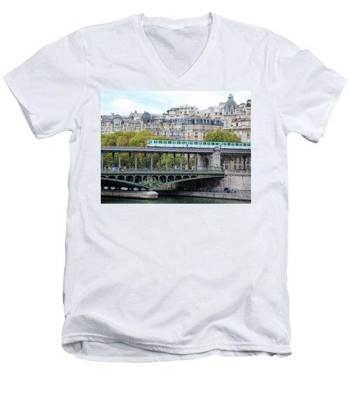 The Metro On The Bridge Men's V-Neck T-Shirt by Yoel Koskas