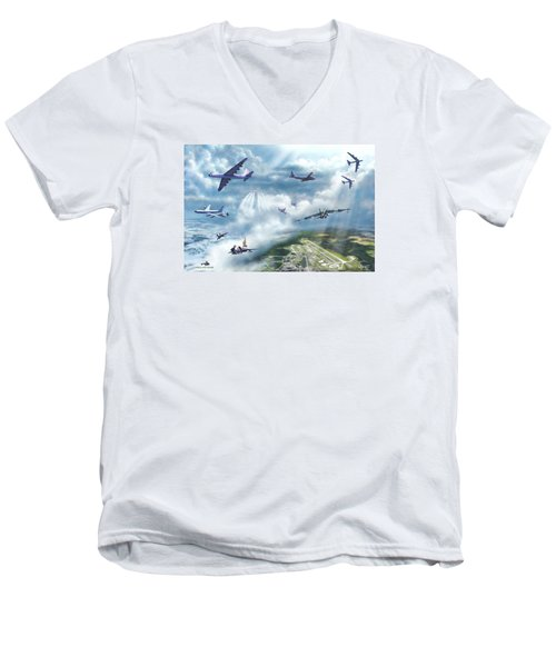 Men's V-Neck T-Shirt featuring the painting The Mighty Loring A F B by Dave Luebbert