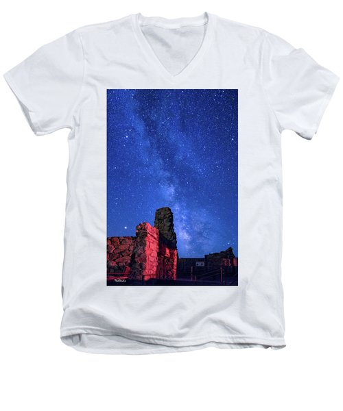 Men's V-Neck T-Shirt featuring the photograph The Milky Way Over The Crest House by Tim Kathka