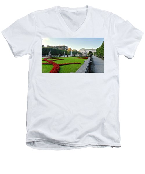 The Mirabell Palace In Salzburg Men's V-Neck T-Shirt by Silvia Bruno
