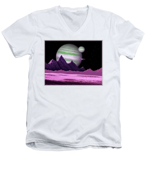 Men's V-Neck T-Shirt featuring the digital art The Moons Of Meepzor by Scott Ross