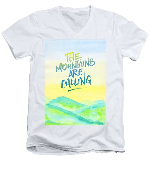 The Mountains Are Calling Yellow Blue Sky Watercolor Painting Men's V-Neck T-Shirt