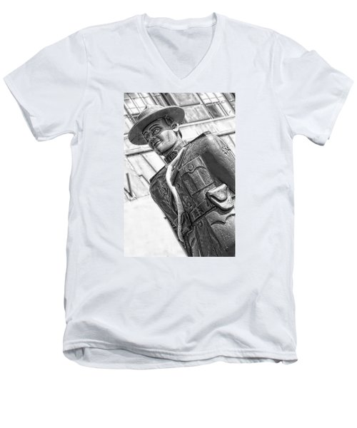 Men's V-Neck T-Shirt featuring the photograph The Mountie by Bob Pardue