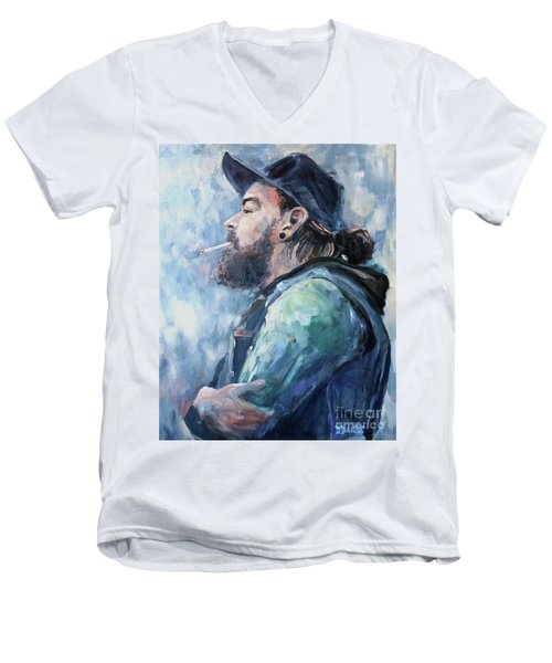 The Music Man Men's V-Neck T-Shirt by Diane Daigle