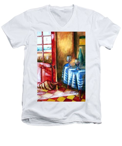 Men's V-Neck T-Shirt featuring the painting The Mystery Room by Winsome Gunning
