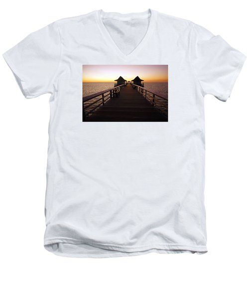 Men's V-Neck T-Shirt featuring the photograph The Naples Pier At Twilight - 01 by Robb Stan