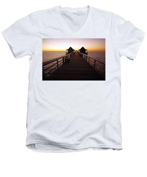 The Naples Pier At Twilight - 01 Men's V-Neck T-Shirt
