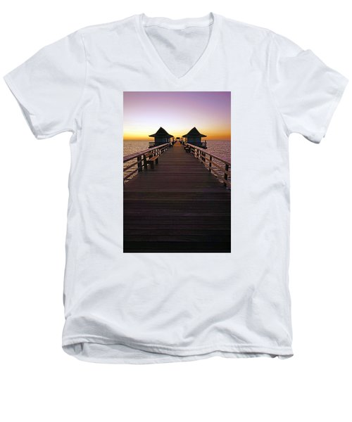 Men's V-Neck T-Shirt featuring the photograph The Naples Pier At Twilight by Robb Stan