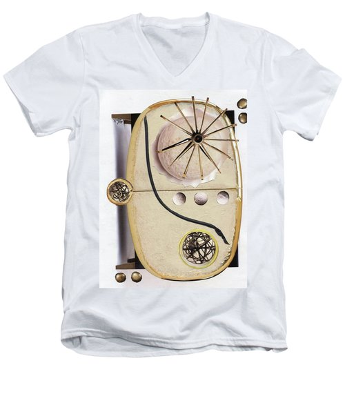 Men's V-Neck T-Shirt featuring the painting The Navigator by Michal Mitak Mahgerefteh
