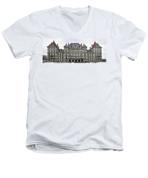 The New York State Capitol In Albany New York Men's V-Neck T-Shirt by Brendan Reals
