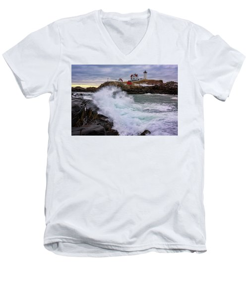 Men's V-Neck T-Shirt featuring the photograph The Nubble After A Storm by Rick Berk