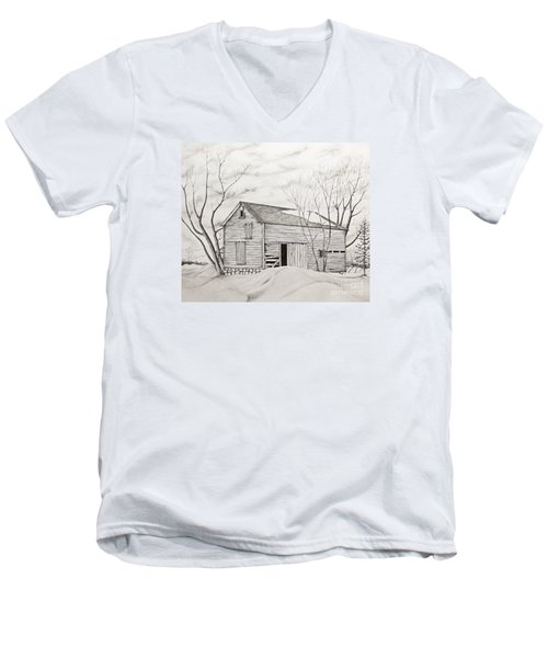 Men's V-Neck T-Shirt featuring the drawing The Old Barn Inwinter by John Stuart Webbstock