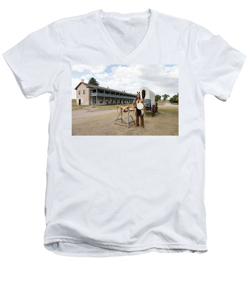 Men's V-Neck T-Shirt featuring the photograph The Old Cavalry Barracks At Fort Laramie National Historic Site by Carol M Highsmith
