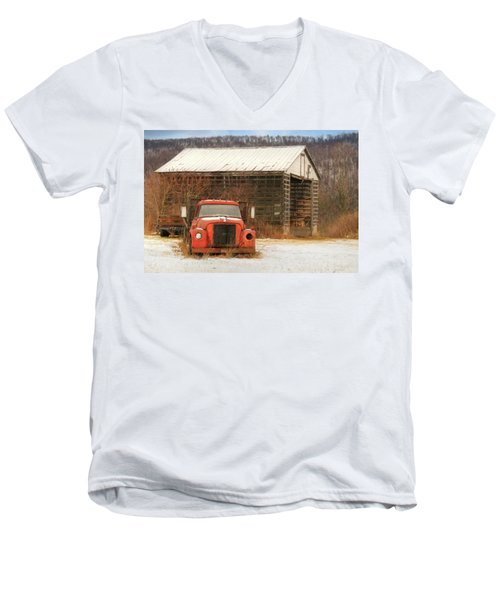 Men's V-Neck T-Shirt featuring the photograph The Old Lumber Truck by Lori Deiter