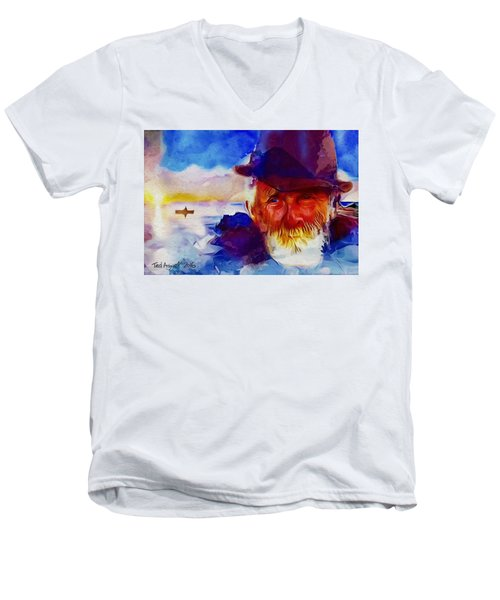 The Old Man And The Sea Men's V-Neck T-Shirt by Ted Azriel
