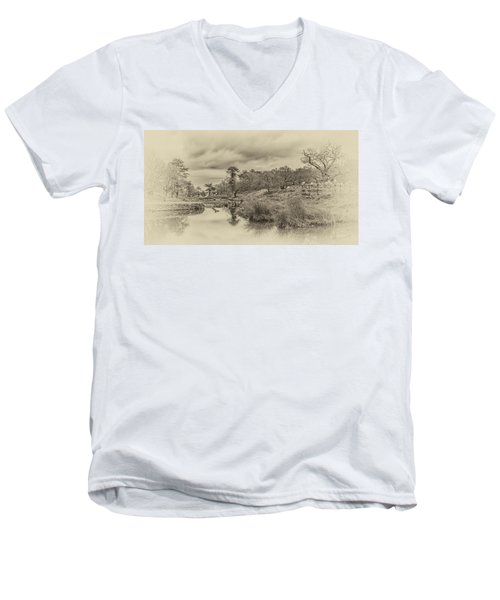 Men's V-Neck T-Shirt featuring the photograph The Old Pond by Nick Bywater