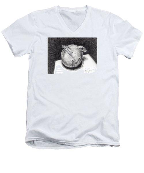 The Onion Men's V-Neck T-Shirt by Nancy Cupp