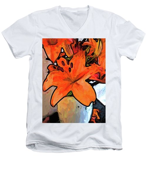 The Orange Lilies In The Mother Of Pearl Vase Men's V-Neck T-Shirt