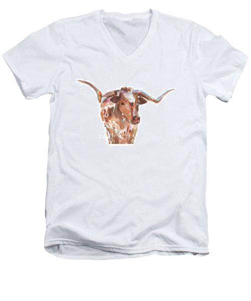 The Original Longhorn Standing Earth Quack Watercolor Painting By Kmcelwaine Men's V-Neck T-Shirt