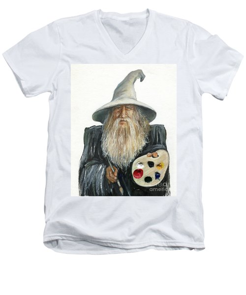 The Painting Wizard Men's V-Neck T-Shirt by J W Baker