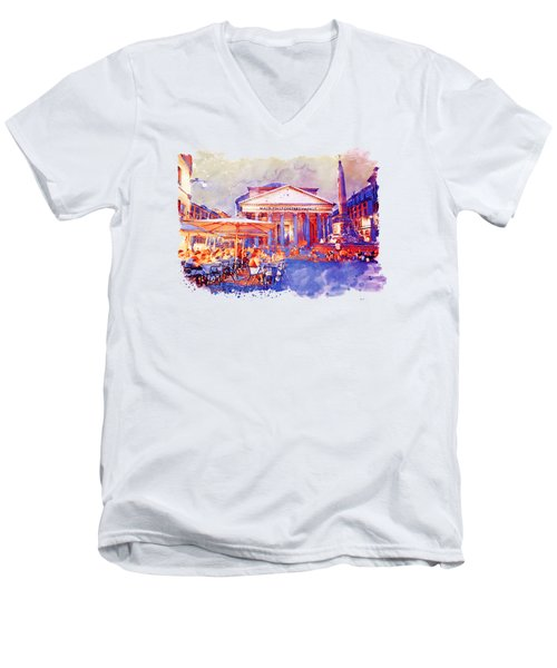The Pantheon Rome Watercolor Streetscape Men's V-Neck T-Shirt by Marian Voicu