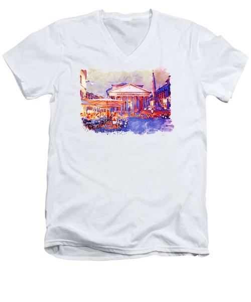 The Pantheon Rome Watercolor Streetscape Men's V-Neck T-Shirt