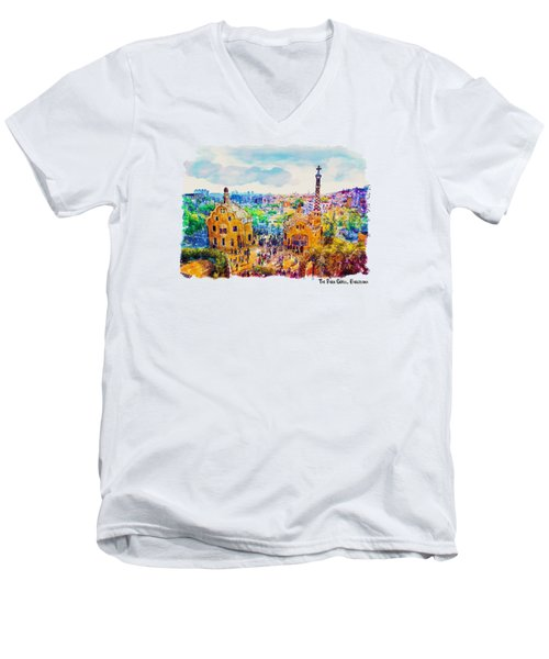 Park Guell Barcelona Men's V-Neck T-Shirt by Marian Voicu