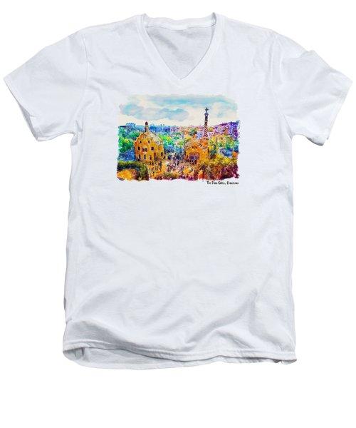 Park Guell Barcelona Men's V-Neck T-Shirt