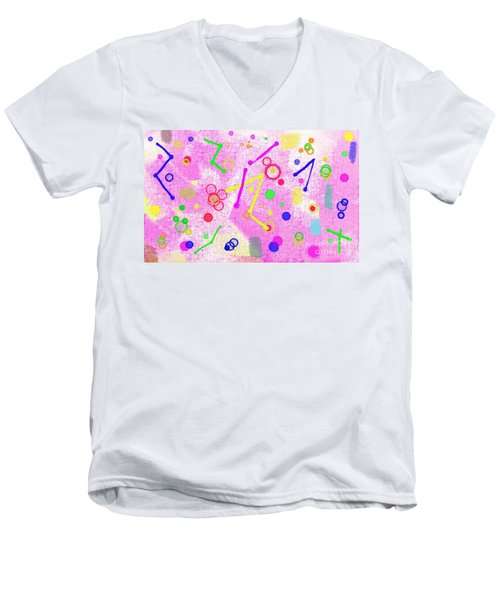 Men's V-Neck T-Shirt featuring the digital art The Party Is Here by Silvia Ganora