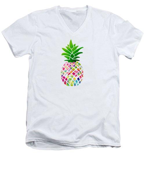 The Pineapple Men's V-Neck T-Shirt by Maddie Koerber