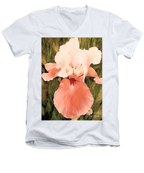 Men's V-Neck T-Shirt featuring the painting The Pink Lady  by Laurie Rohner