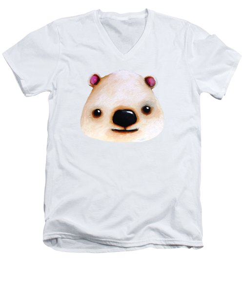 The Polar Bear Men's V-Neck T-Shirt by Lucia Stewart