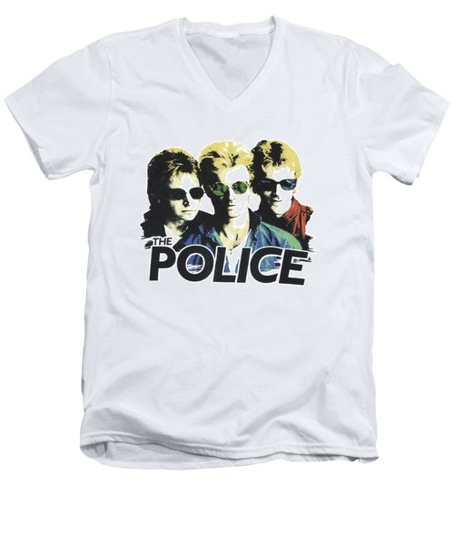 The Police Men's V-Neck T-Shirt by Gina Dsgn