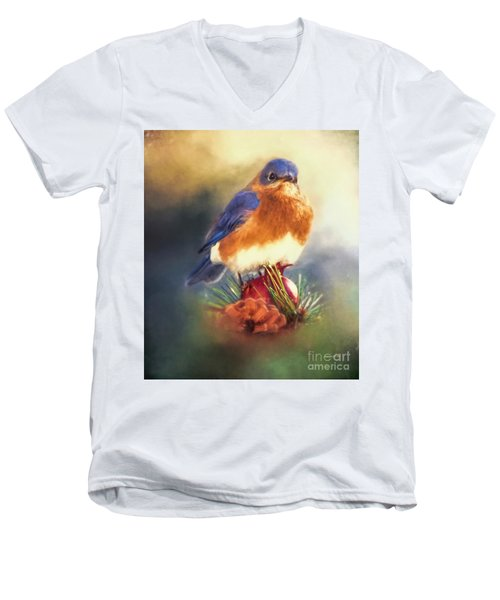 The Pondering Bluebird Men's V-Neck T-Shirt