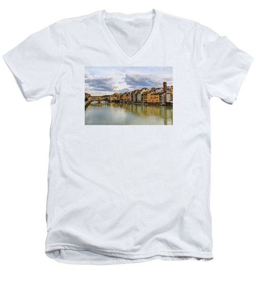 The Ponte Vecchio And Florence Men's V-Neck T-Shirt by Wade Brooks
