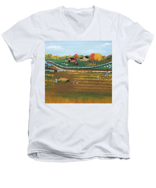 Men's V-Neck T-Shirt featuring the painting The Pumpkin Patch by Virginia Coyle