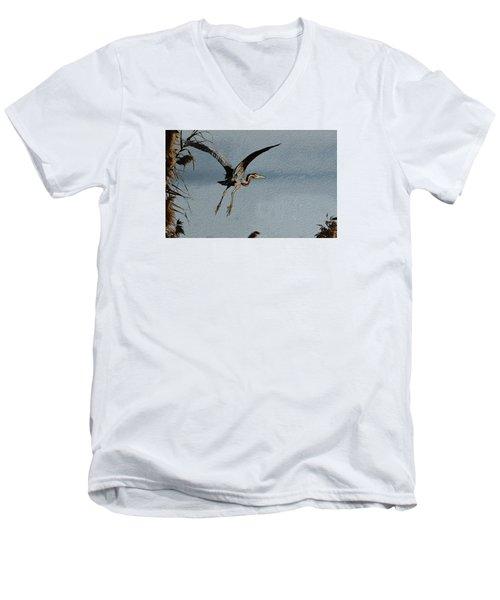 The Purple Heron Men's V-Neck T-Shirt by Manjot Singh Sachdeva