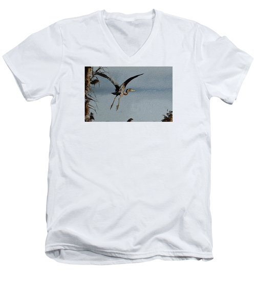 The Purple Heron Men's V-Neck T-Shirt