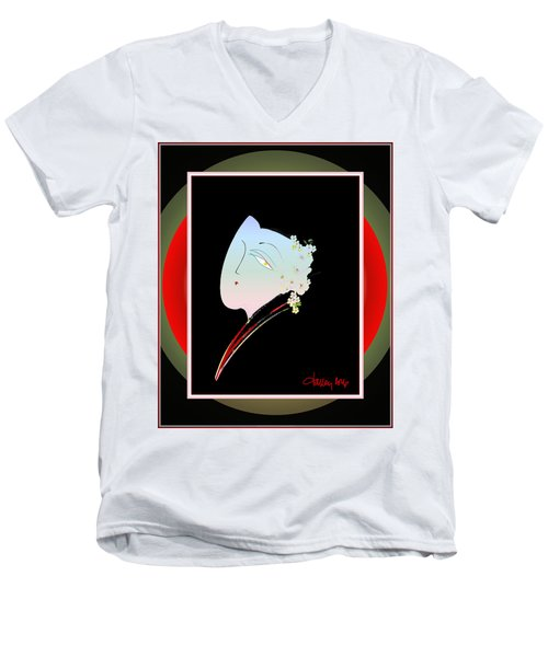 Men's V-Neck T-Shirt featuring the painting The Reluctant Bride by Larry Talley