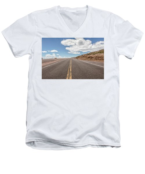 Men's V-Neck T-Shirt featuring the photograph The Road Up Pikes Peak At Around 12,000 Feet by Peter Ciro