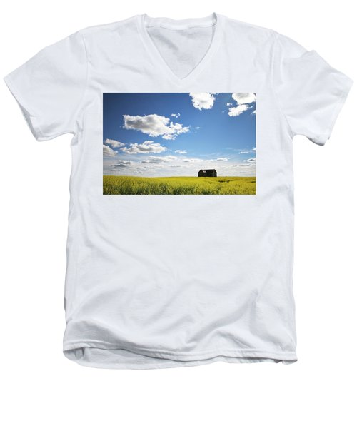 Men's V-Neck T-Shirt featuring the photograph The Saskatchewan Prairies II by Ryan Crouse
