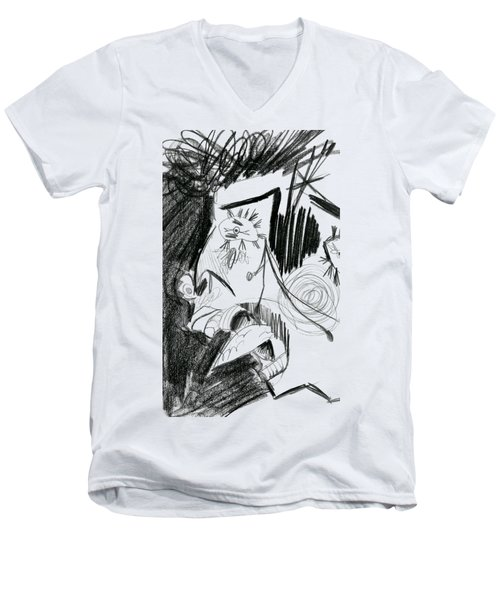 Men's V-Neck T-Shirt featuring the drawing The Scream - Picasso Study by Michelle Calkins
