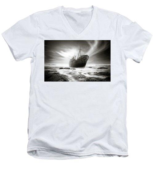The Shipwreck Men's V-Neck T-Shirt by Marius Sipa