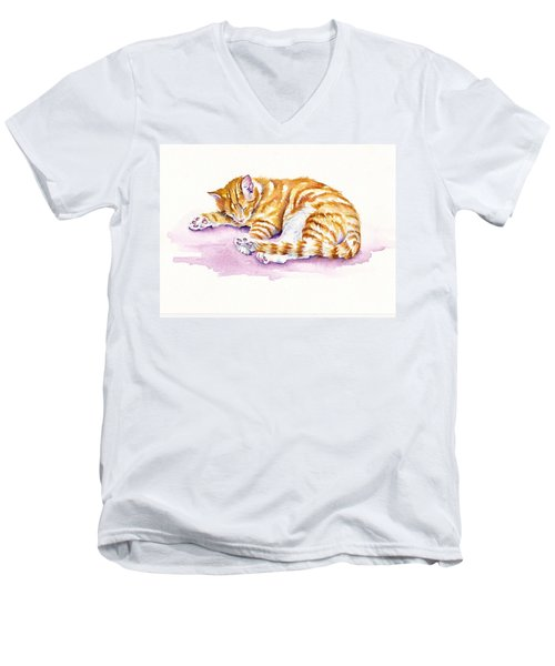 The Sleepy Kitten Men's V-Neck T-Shirt