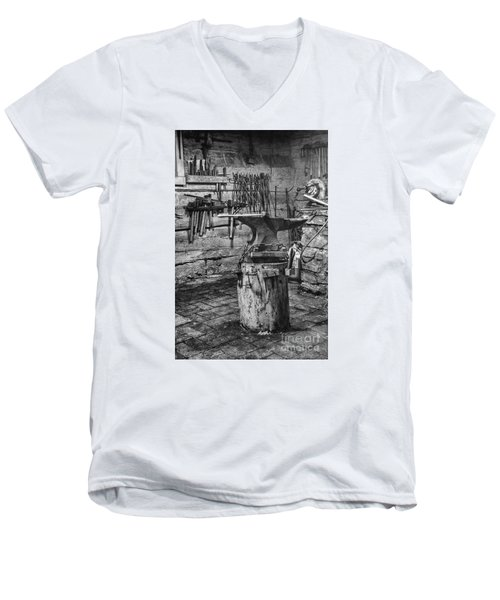 Men's V-Neck T-Shirt featuring the photograph The Smithy's Work Awaits by William Fields