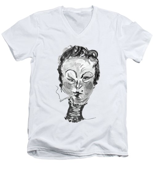 The Smoker - Black And White Men's V-Neck T-Shirt by Marian Voicu