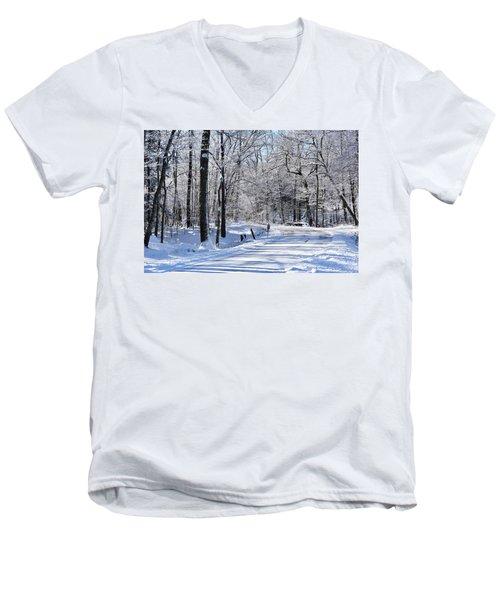 The Snowy Road 1 Men's V-Neck T-Shirt