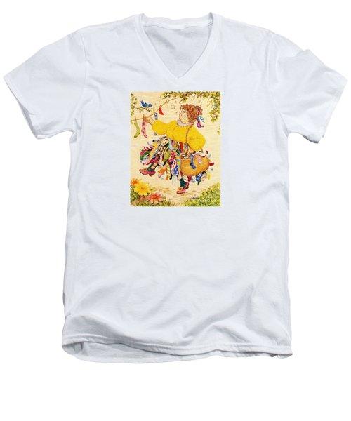 The Sock Lady Men's V-Neck T-Shirt by Dee Davis